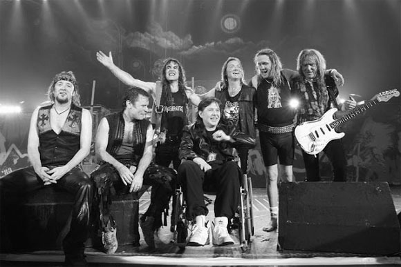 "(L-R) Adrian Smith, guitar; Bruce Dickinson, lead vocal; Steve Harris, bass; Clive Burr, former drummer - RIP; Dave Murray, guitar; Nick McBrain, drums; Janick ""the new guy for over 20 years"" Gers, guitar"