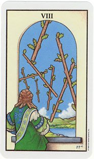 Connolly's 8 of Wands doesn't necessarily denote speed or divine influence in movement, but rather someone dumping a bunch of sticks out their 2nd story window...